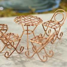 Copper Bistro Chair Miniature Copper Wire Bistro Chair And Table Set Fairy Garden