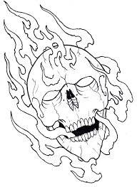 flaming skull outline 09 by vikingtattoo on deviantart