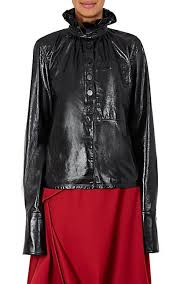 leather blouse j w ruffle trimmed leather blouse barneys york