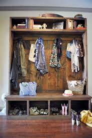 shoe storage bench with coat rack wood entryway bench with back