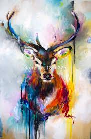 1 pcs deer tibetan antelope sheep oil painted painting oil
