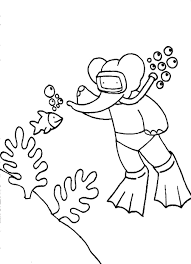download free cartoon coloring pages babar diving sea
