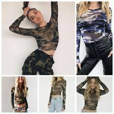 army pattern crop top blue crop tops army green o neck camouflage t shirts see through