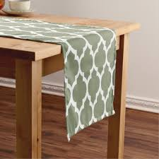 sage green table runner sage green white moroccan 4lg pattern short table runner zazzle com