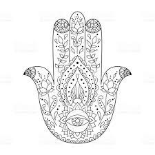 indian hand drawn hamsa hamsa henna tattoo with ethnic ornament