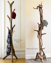 a cool coat stand made of real tree roots and trunks shelterness