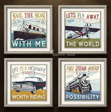 discount retro combination painting plane boat car and train