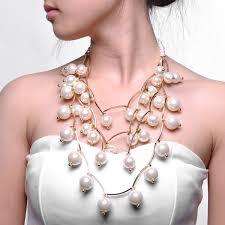 big statement necklace images Festive season golden chain pearl beads cluster big bib statement jpg