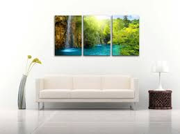 amazon com waterfall sunrise blue lake canvas print wall art