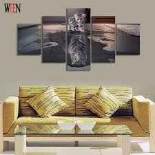 home interior tiger picture 5 cat and tiger canvas wall pictures hd printed for