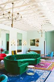 Emerald Green Velvet Sofa by Art Decor Style Green Velvet Sofa Eclectic Living Room Set Up