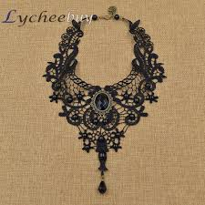 gothic steampunk necklace images Steampunk black lace beads rhinestone choker collar necklace gothic jpg