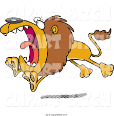 clip vector cartoon art of a cartoon attacking lion running by