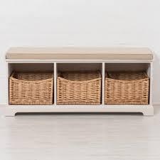 hallway storage bench newport hallway storage bench with 3 wicker baskets cushion