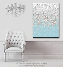 light blue wall art custom abstract painting pearl white blue floral decor