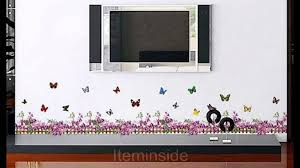 butterfly purple flowers home wall stickers removable bedroom butterfly purple flowers home wall stickers removable bedroom living room corner youtube