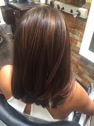 bob hair lowlights dark lowlights complimented with golden red highlights a long bob
