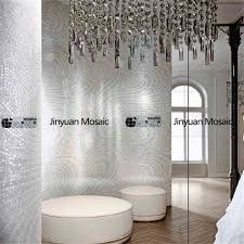 JYMAB Abstract Mosaic Painting Silver Bathroom Tile Handmade - Silver bathroom