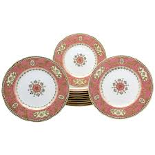set of 12 spode for raised gold and pink du barry