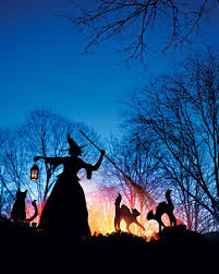 witch and cat lawn ornaments outdoor
