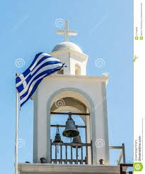 Greek Flag Background The Greek Flag On The Background Of The Christian Church Stock