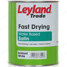 leyland trade fast drying water based satin 750ml brilliant white