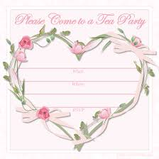 please come to tea party invite and love shaped border sets for