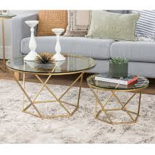 Free Coffee Tables Geometric Glass Nesting Coffee Tables Free Shipping On Orders