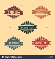 name style design set hexagonal emblem with the name of us cities in retro style