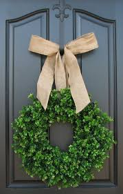 Wreath For Front Door Decorating Spring Summer Boxwood Wreath Decoration With Dark