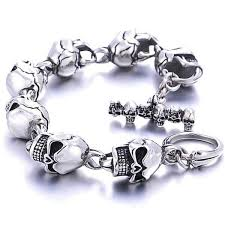 stainless steel bracelet links images Men 39 s stainless steel skull bracelet link chain bikazo jpg