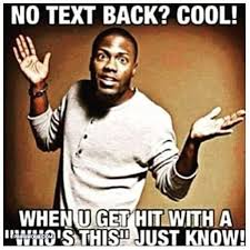 Kevin Hart Text Meme - no text back cool when u get hit with a who s this just know