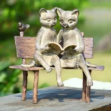 reading cats on bench garden statue by spi home 128 you save 47 00