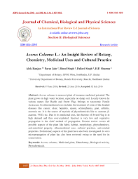 acorus calamus l an insight review of botany chemistry