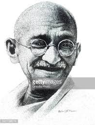 drawing of freedom fighters of india mohandas karamchand gandhi by