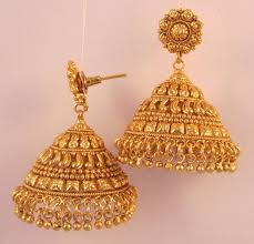 gold jhumka earrings design with price buy earrings jhumka chandelier gold plated temple jewellery online