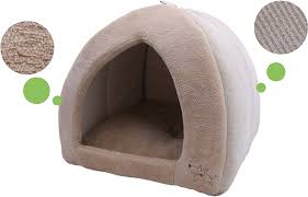 Cave Beds For Dogs Best Pet Supplies Coral Fleece Tent Bed Tan X Large Chewy Com
