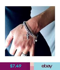 pearl bracelet ebay images Multicolor gold silver black multiple chain stylish cross pearl jpg