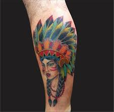 tattoo on leg for women colorful 3d indian native face tattoo design for leg red