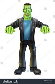 halloween cartoon frankenstein monster character standing stock