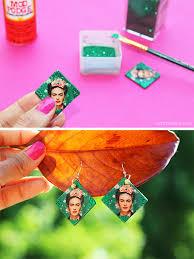 decoupage earrings diy frida kahlo decoupage earrings live colorful