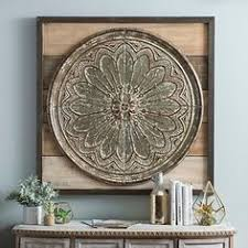 metal and wood medallion wall plaque metals woods and walls