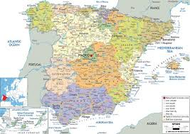 physical map of spain physical and relief map of spain