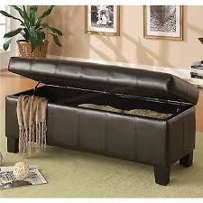 padded storage bench brown faux leather hinged lift top blanket