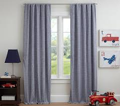 Navy And White Drapes Gingham Blackout Panel Pottery Barn Kids