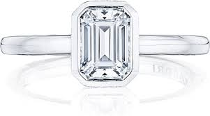 emerald cut engagement rings tacori bezel set emerald cut engagement ring 300 2ec