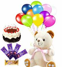 balloons for delivery birthday online 58 half kilo black forest cake n teddy n chocolate and