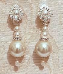 bridal clip on earrings pearls bridal earrings clip on swarovski ivory rhinestone crystals