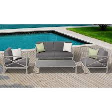 Patio Furniture Without Cushions Shop Ove Decors Pasadena 4 Aluminum Frame Patio Conversation