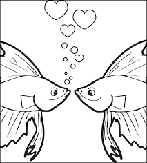free printable kissing fish valentine u0027s coloring kids